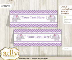 DIY Text Editable Printable Elephant Girl Buffet Tags or Food Tent Labels  for a Baby Shower or Birthday , Gray, Purple