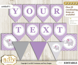 DIY Personalizable Elephant Girl Printable Banner for Baby Shower, Gray, Purple