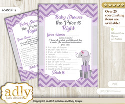 Printable Elephant Girl Price is Right Game Card for Baby Girl Shower, Gray, Purple