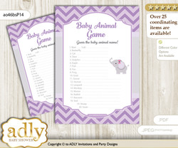 Printable Elephant Girl Baby Animal Game, Guess Names of Baby Animals Printable for Baby Girl Shower, Gray, Purple