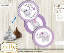 Printable  Elephant Girl Candy Kisses for Baby Elephant Shower DIY Gray , Purple
