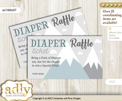 Adventure Mountain Diaper Raffle Printable Tickets for Baby Shower, Gray White, Boy