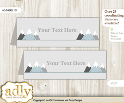 DIY Text Editable Printable Adventure Mountain Buffet Tags or Food Tent Labels  for a Baby Shower or Birthday , Gray White, Boy