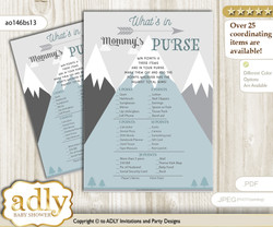 Adventure Mountain What is in Mommy's Purse, Baby Shower Purse Game Printable Card , Gray White,  Boy