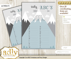 Adventure Mountain Baby ABC's Game, guess Animals Printable Card for Baby Mountain Shower DIY – Boy