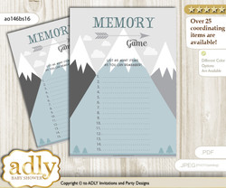 Adventure Mountain Memory Game Card for Baby Shower, Printable Guess Card, Gray White, Boy