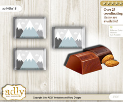 Adventure Mountain Chocolate Nuggets Candy Wrapper Label for Baby Adventure Shower  Gray White , Boy