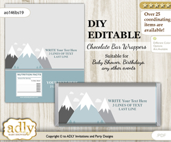 DIY Personalizable Adventure Mountain Chocolate Bar Candy Wrapper Label for Adventure  baby shower, birthday Gray White , editable wrappers