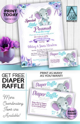 Peanut Purple Teal Gray Elephant Baby Shower Invitation  -Printable Unisex, Neutral- Mommy to Be Invite-FREE Diaper Raffle,gender reveal