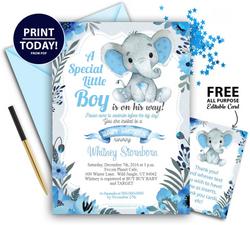 Peanut Blue Gray Elephant Baby Shower Invitation  -Printable Unisex, Neutral- Mommy to Be Invite-FREE Diaper Raffle,gender reveal
