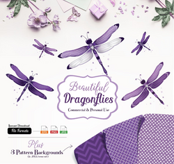 Purple gray Dragonfly Clip Art, Vector Illustrated Dragonflies for commercial use, pattern backgrounds. Purple Gray, EPS editable, JPEG, PNG Format.