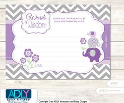Purple Grey Girl Elephant  Words of Wisdom or an Advice Printable Card for Baby Shower,  Chevron