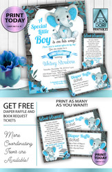 Boy Elephant Blue Gray Baby Shower Invitation -Printable Invitation - Mommy to Be Shower-Peanut Invite-Elephant Baby Shower-FREE Diaper Raffle