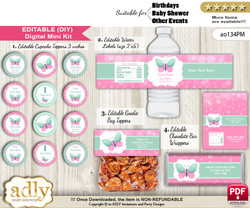 DIY Text Editable Butterfly Girl Baby Shower, Birthday digital package, kit-cupcake, goodie bag toppers, water labels, chocolate bar wrappers