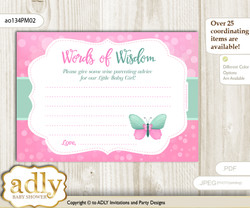 Pink Mint Butterfly Girl Words of Wisdom or an Advice Printable Card for Baby Shower, Bokeh