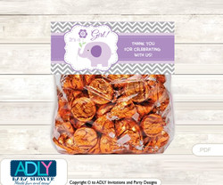 Printable Girl Elephant Treat or Goodie bag Toppers for Baby  Girl Shower or Birthday DIY  Purple Grey,  Chevron