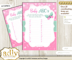 Butterfly Girl Baby ABC's Game, guess Animals Printable Card for Baby Girl Shower DIY – Bokeh
