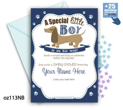 Boy Sausage Dog Navy blue Baby Shower Invitation, Printable Dachshund Baby Shower Card for a baby shower.Navy Blue, diy,brown dog-oz113NB
