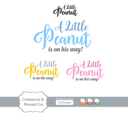 A little Peanut is on his way Clipart, her way, one the way. Vector Illustrated peanut wordings.Commercial use, EPS editable,PNG Format