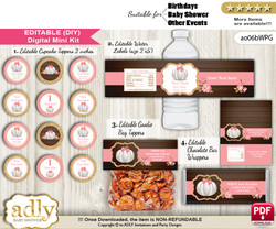DIY Text Editable Pumpkin Girl Baby Shower, Birthday digital package, kit-cupcake, goodie bag toppers, water labels, chocolate bar wrappers