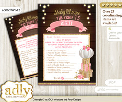 Printable Pumpkin Girl Price is Right Game Card for Baby Girl Shower, Pink Gold, Fall