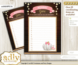 Pumpkin Girl Memory Game Card for Baby Shower, Printable Guess Card, Pink Gold, Fall