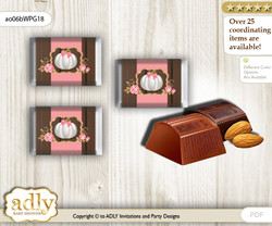 Pumpkin Girl Chocolate Nuggets Candy Wrapper Label for Baby Pumpkin Shower  Pink Gold , Fall