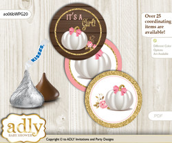 Printable  Pumpkin Girl Candy Kisses for Baby Pumpkin Shower DIY Pink Gold , Fall
