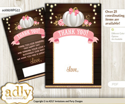 Pumpkin  Girl Thank you Cards for a Baby Pumpkin Shower or Birthday DIY Pink Gold, Fall