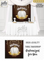 Pumpkin baby shower fairy backdrop, gray gold brown fall baby shower candy Table Digital Backdrop, Fall Watercolor Birthday Party