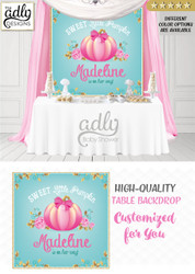 Pumpkin Turquoise, Pink, Gold Girl Pumpkin backdrop Patch Sign, Little Pumpkin Backdrop, gold floral fall baby shower candy Table Digital Backdrop, Fall Watercolor Birthday Party