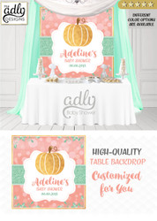 Coral Peach Mint Gold Pumpkin Girl Backdrop Pumpkin backdrop Patch Sign, Little Pumpkin Backdrop, gold floral fall baby shower candy Table Digital Backdrop, Fall Watercolor Birthday Party