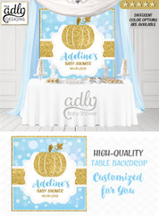 Boy baby blue and gold Backdrop Pumpkin backdrop Patch Sign, Little Pumpkin Backdrop, gold glitter fall baby shower candy Table Digital Backdrop, Fall Watercolor Birthday Party