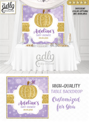 Purple Gold  Pumpkin Girl Backdrop Pumpkin backdrop Patch Sign, Little Pumpkin Backdrop, gold glitter floral fall baby shower candy Table Digital Backdrop, Fall Watercolor Birthday Party