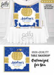 Boy navy blue  gold Backdrop Pumpkin backdrop Patch Sign, Little Pumpkin Backdrop, gold glitter dark blue fall baby shower candy Table Digital Backdrop, Fall Watercolor Birthday Party