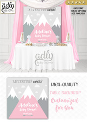 Girl Pink and gray Mountains Backdrop, mountains baby shower candy Table Digital Backdrop, Birthday Party, Unisex,Boy adventure awaits wall 4x4 or 4wx6h