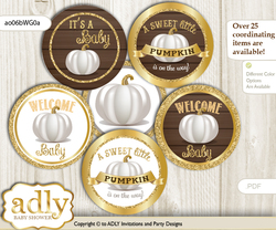Baby Shower Pumpkin Unisex Cupcake Toppers Printable File for Little Pumpkin and Mommy-to-be, favor tags, circle toppers, Fall, Rustic Gold