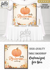 Unisex Fall Pumpkin Gender Neutral Table Backdrop, baby shower, birthday candy Table Digital Backdrop, Autumn Watercolor Party welcome sign,unisex
