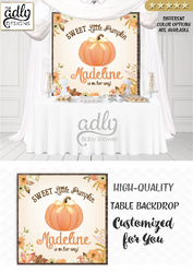 Autumn Fall Pumpkin Gender Neutral Table Backdrop, baby shower, birthday candy Table Digital Backdrop, Autumn Watercolor Party welcome sign,unisex