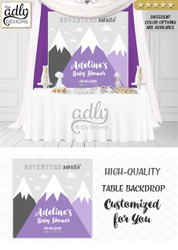 Girl Purple and gray Mountains Backdrop, mountains baby shower candy Table Digital Backdrop, Birthday Party, Unisex,Boy adventure awaits wall 4x4 or 4wx6h