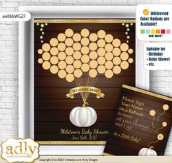 Pumpkin Unisex Guest Book Alternative for a Baby Shower, Creative Nursery Wall Art Gift, Rustic Gold, Fall