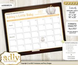 DIY Pumpkin Unisex Baby Due Date Calendar, guess baby arrival date game
