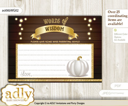 Rustic Gold Pumpkin Unisex Words of Wisdom or an Advice Printable Card for Baby Shower, Fall