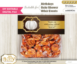 DIY Text Editable Pumpkin Unisex Goodie  Treat Bag Toppers, Favor Bag Digital File, print at home