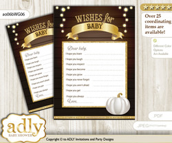 Pumpkin Unisex Wishes for a Baby, Well Wishes for a Little Unisex Printable Card, Fall, Rustic Gold