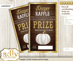 Pumpkin Unisex Diaper Raffle Printable Tickets for Baby Shower, Rustic Gold, Fall
