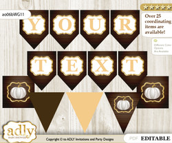 DIY Personalizable Pumpkin Unisex Printable Banner for Baby Shower, Rustic Gold, Fall