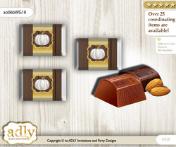 Pumpkin Unisex Chocolate Nuggets Candy Wrapper Label for Baby Pumpkin Shower  Rustic Gold , Fall
