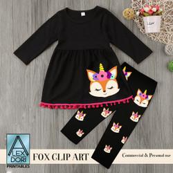 Fox Unicorn Clip art, Fox printable file,cut Cricut, Silhouette. Nursery, Baby Shower,t-shirt,birthday,fall download commercial use,svg, png