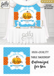Pumpkin Boy Backdrop for Candy table, baby shower buffet, brown,Baby Blue Orange, chevron pattern fall boy baby shower,pumpkin on his way